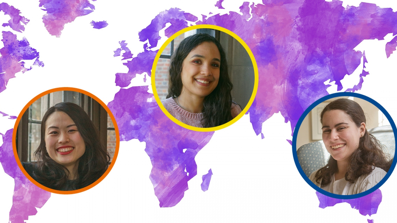 portrait of 3 students overlaying a colorful map of the world