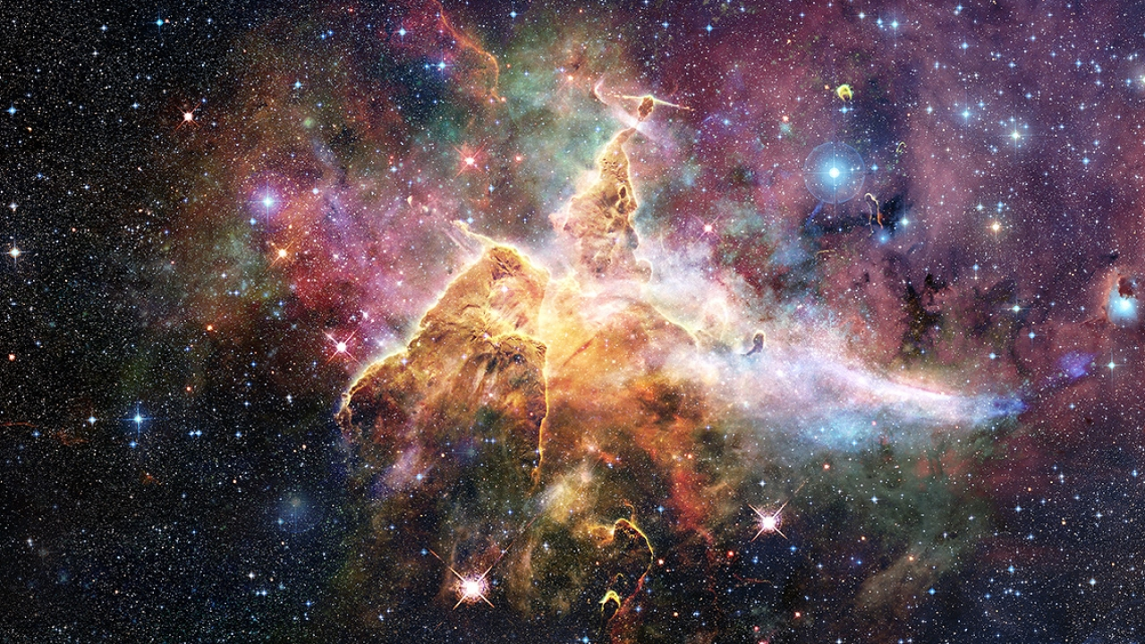 Mystic Mountain region in the Carina Nebula, imaged by the Hubble Space Telescope.