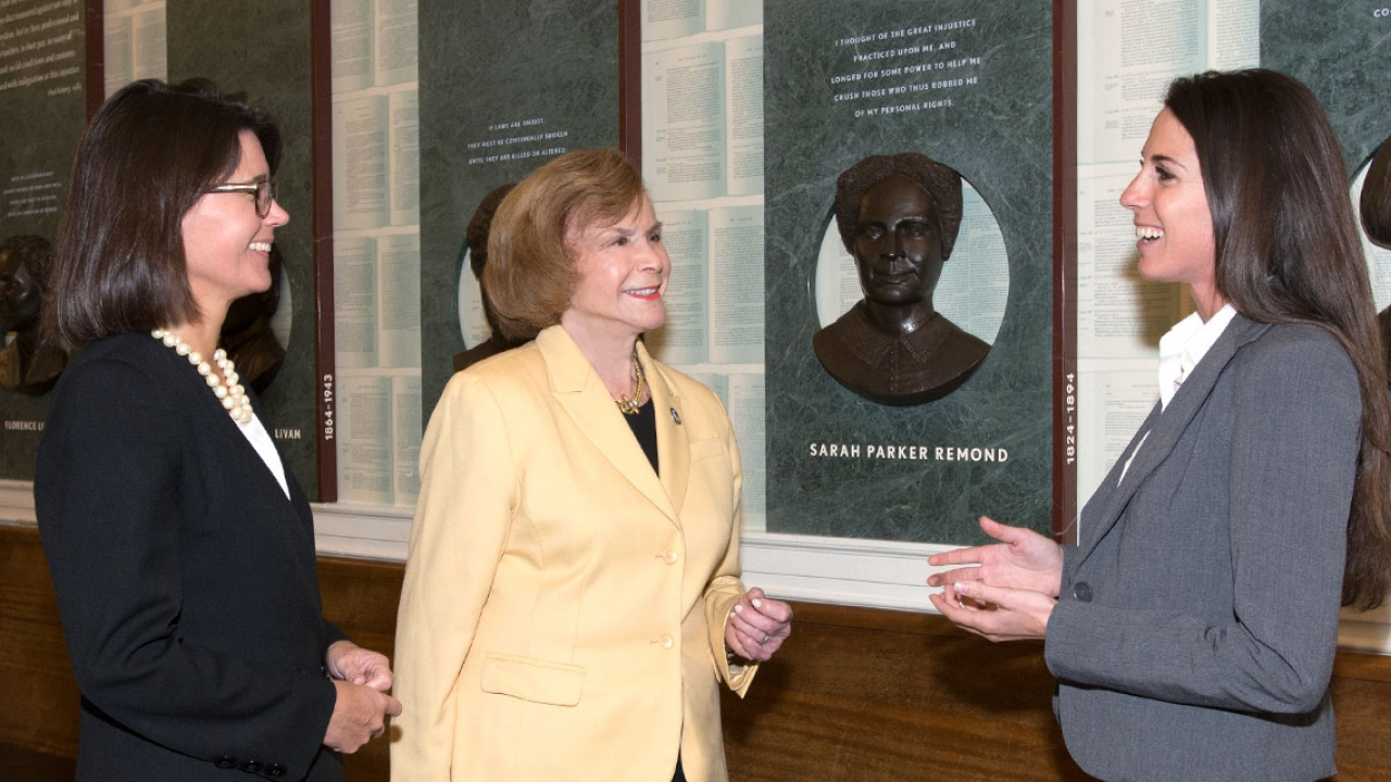 Members of the MA State Legislature: Carolyn Dykema '89, Harriette Chandler '59, and Diana DiZoglio '11