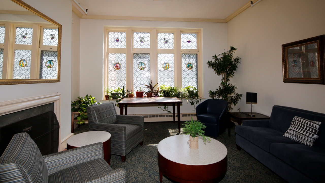 A view of the newly rennovated living room in Pomeroy Hall.
