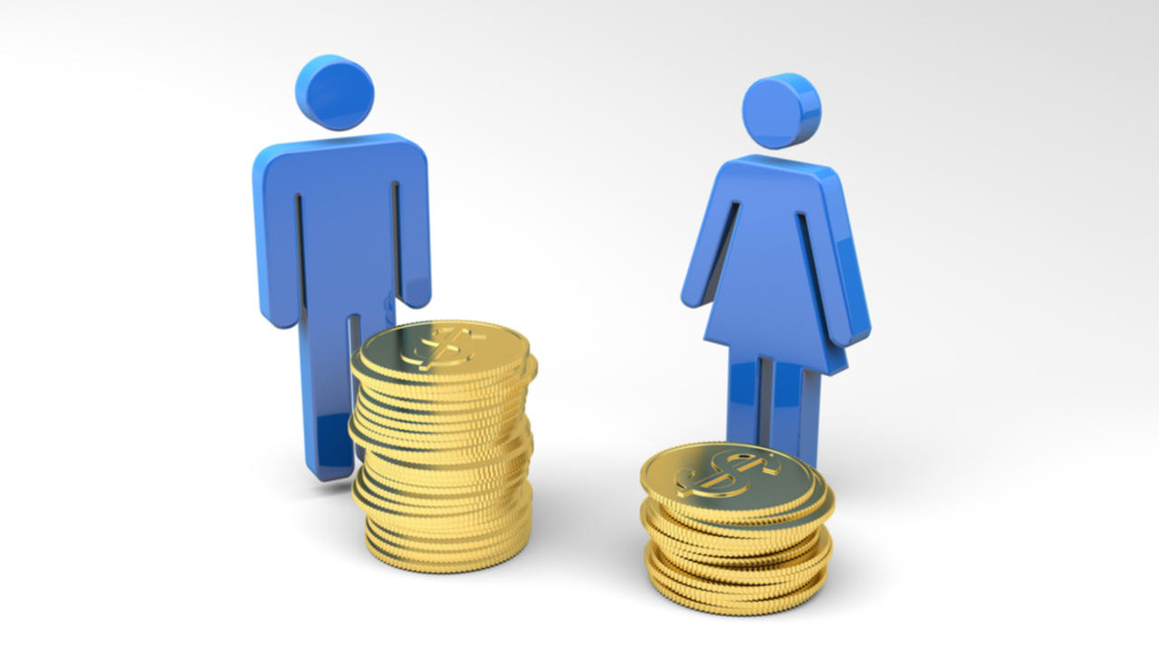 A figure of a man stands next to a stack of coins and a figure of a woman stands next a smaller stack of coins.