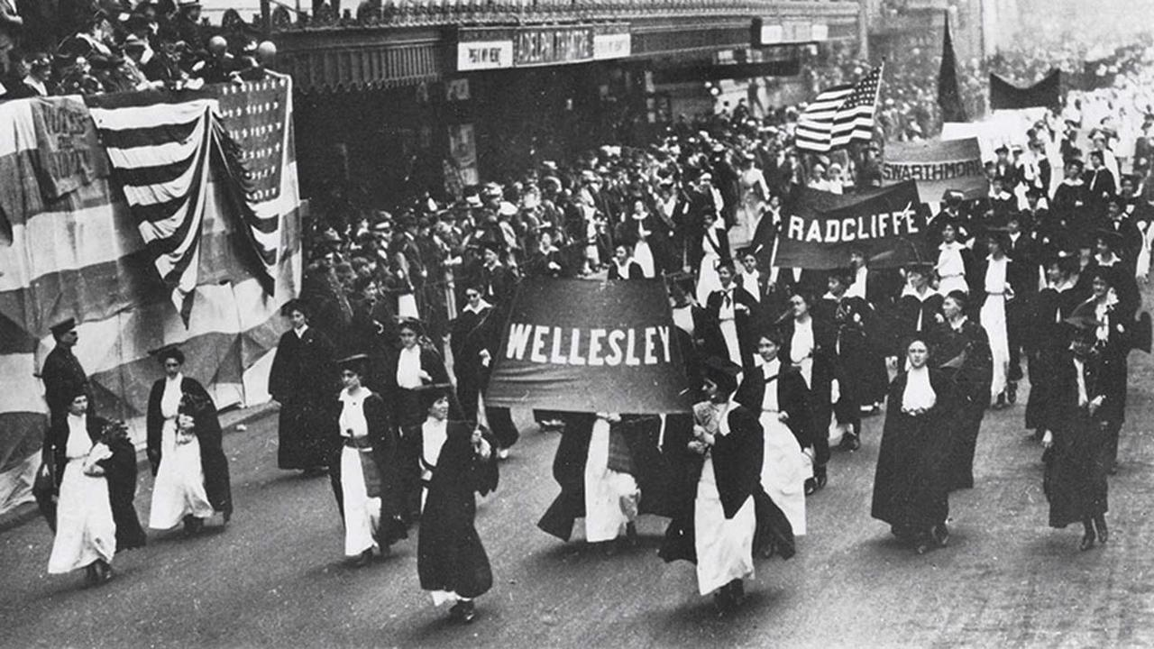 Wellesley students participate in a march for suffrage in Philadelphia in 1915.