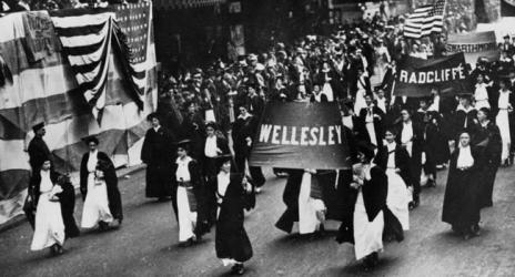 Wellesley Women march in suffragette movement