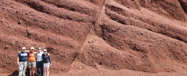 Students line up near the Normal Fault