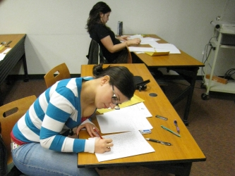 Students working hard at the Putnam Exam