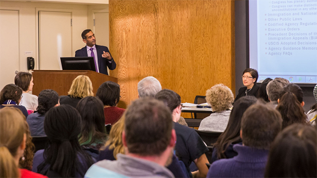 Prasant Desai, an immigration attorney discusses emerging issues for undocumented immigrants in the Library Lecture Room.